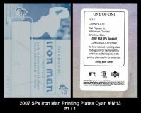 2007 SPx Iron Man Printing Plates Cyan #IM13