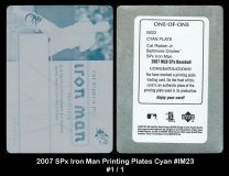 2007 SPx Iron Man Printing Plates Cyan #IM23