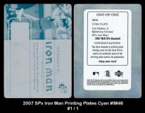 2007 SPx Iron Man Printing Plates Cyan #IM46