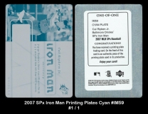 2007 SPx Iron Man Printing Plates Cyan #IM59