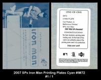 2007 SPx Iron Man Printing Plates Cyan #IM72