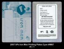 2007 SPx Iron Man Printing Plates Cyan #IM87