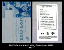2007 SPx Iron Man Printing Plates Cyan #IM90