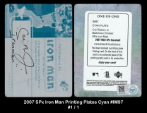 2007 SPx Iron Man Printing Plates Cyan #IM97