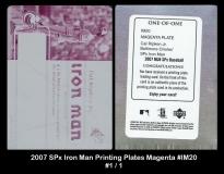 2007 SPx Iron Man Printing Plates Magenta #IM20