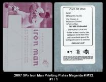 2007 SPx Iron Man Printing Plates Magenta #IM32