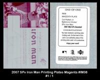 2007 SPx Iron Man Printing Plates Magenta #IM38