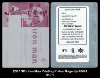 2007 SPx Iron Man Printing Plates Magenta #IM41