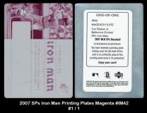 2007 SPx Iron Man Printing Plates Magenta #IM42