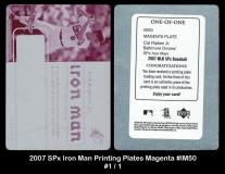 2007 SPx Iron Man Printing Plates Magenta #IM50