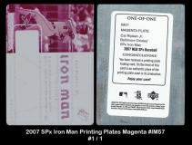 2007 SPx Iron Man Printing Plates Magenta #IM57