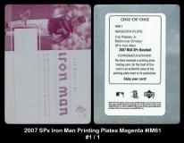 2007 SPx Iron Man Printing Plates Magenta #IM61