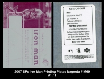2007 SPx Iron Man Printing Plates Magenta #IM69