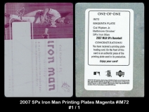 2007 SPx Iron Man Printing Plates Magenta #IM72
