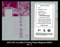 2007 SPx Iron Man Printing Plates Magenta #IM74