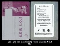 2007 SPx Iron Man Printing Plates Magenta #IM75