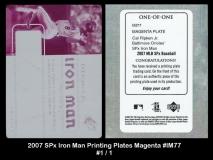 2007 SPx Iron Man Printing Plates Magenta #IM77