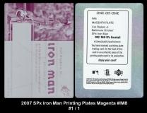 2007 SPx Iron Man Printing Plates Magenta #IM8