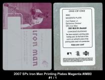 2007 SPx Iron Man Printing Plates Magenta #IM80
