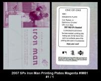 2007 SPx Iron Man Printing Plates Magenta #IM81
