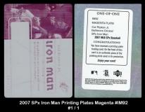 2007 SPx Iron Man Printing Plates Magenta #IM92