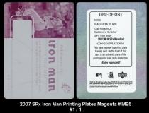 2007 SPx Iron Man Printing Plates Magenta #IM95