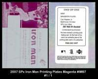 2007 SPx Iron Man Printing Plates Magenta #IM97