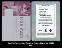 2007 SPx Iron Man Printing Plates Magenta #IM98
