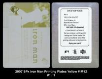 2007 SPx Iron Man Printing Plates Yellow #IM12