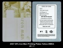 2007 SPx Iron Man Printing Plates Yellow #IM54
