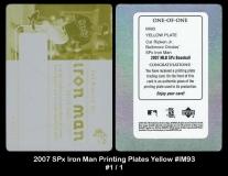 2007 SPx Iron Man Printing Plates Yellow #IM93