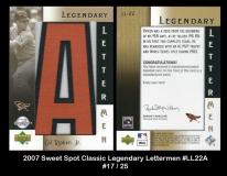 2007 Sweet Spot Classic Legendary Lettermen #LL22A
