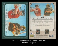 2007 UD Masterpieces Green Linen #42