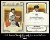 2008 Donruss Threads Diamond Kings Materials Prime Black Box #27