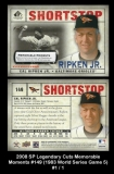 2008 SP Legendary Cuts Memorable Moments #149 1983 World Series Game 5
