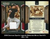2008 Donruss Sports Legends Materials Mirror Red #75