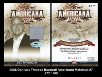 2008 Donruss Threads Baseball Americana Materials #7