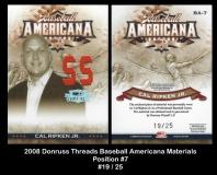 2008 Donruss Threads Baseball Americana Materials Position #7