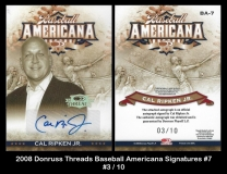 2008 Donruss Threads Baseball Americana Signatures #7