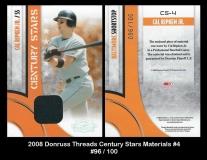 2008 Donruss Threads Century Stars Materials #4