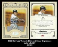 2008 Donruss Threads Diamond Kings Signatures Materials #27