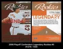 2008 Playoff Contenders Legendary Rookies #3