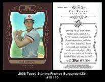 2008 Topps Sterling Framed Burgundy #231
