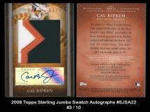 2008 Topps Sterling Jumbo Swatch Autographs #SJSA22