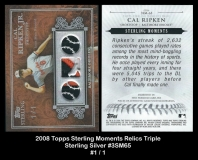 2008 Topps Sterling Moments Relics Triple Sterling Silver #3SM65