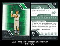 2008 Topps Triple Threads Emerald #240