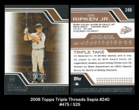 2008 Topps Triple Threads Sepia #240