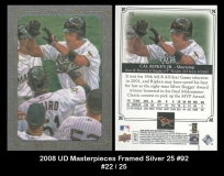 2008 UD Masterpieces Framed Silver 25 #92