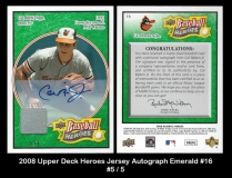 2008 Upper Deck Heroes Jersey Autograph Emerald #16