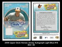 2008 Upper Deck Heroes Jersey Autograph Light Blue #16